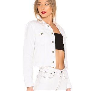 GRLFRND Cara white distressed cropped denim jacket